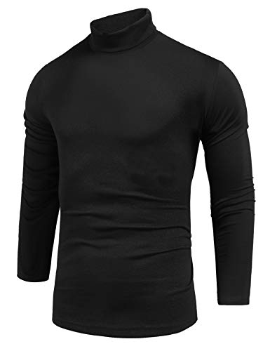 Pacinoble Men's Basic Turtleneck Pullover Sweaters Cotton Long Sleeve Knitted Thermal Tops (Black M)