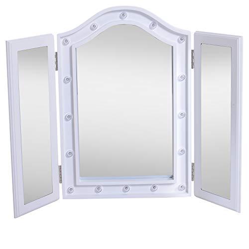 HOMCOM Espejo de Maquillaje con Luz LED Plegable Espejo Triple de Mesa Regalo Original para Mujer Cargo con Batería Espejo Cosmético con Iluminación 73x53.5x4.5cm