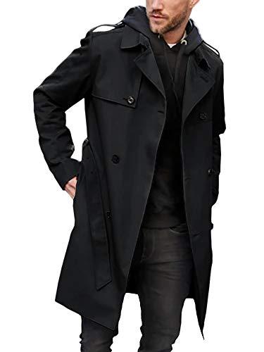 Gemijacka Mantel Herren Zweireihiger Trenchcoat mit Gurtel Business Freizeit Jacke Herren Mode, Schwarz, L