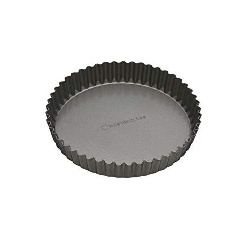 masterclass Antihaft-Tortenbodenform/Quicheform mit gewelltem Rand und losem Boden, Stahl, Grau, 18 x 18 x 3.3 cm