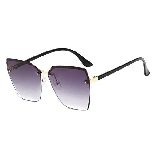 ZZOW Gafas De Sol De Ojo De Gato A La Moda para Mujer, Gafas De Sol Transparentes con Gradiente De Océano, Gafas De Sol Clásicas Sin Montura De Gran Tamaño para Mujer