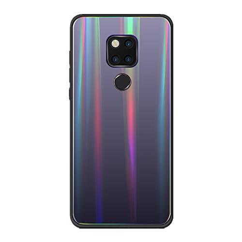 Hülle kompatibel Huawei Mate 20, Tempered Glass Stoßfest Back Case TPU Bumper Dünn Farbverlauf Schutzhülle Kratzfest Protective Handyhülle kompatibel Huawei Mate 20 Pro (Schwarz, Mate 20 Pro)