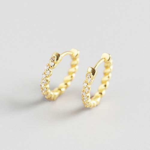 Pendiente de aro de Diamantes de imitación con Giro geométrico de Plata de Ley 925, joyería de Lujo Ligera a la Moda para Mujer, Regalo Coiuple