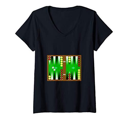 Mujer Juego de mesa de backgammon Camiseta Cuello V