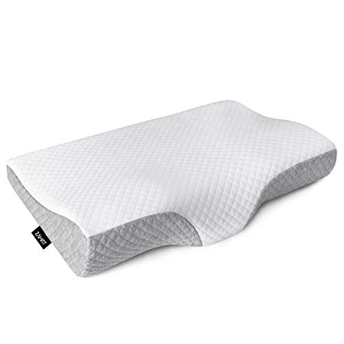 ZAMAT Contour Memory Foam Pillow for Neck Pain Relief, Adjustable Ergonomic Cervical Pillow for Sleeping, Orthopedic Neck Pillow with Washable Cover, Bed Pillows for Side, Back, Stomach Sleepers