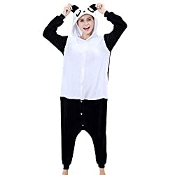 IDGIRL Adults Flannel Romper Panda pijamas Man and Women Costumes Cartoon Sleepwear