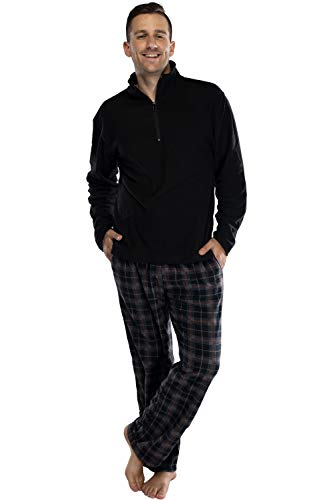 Intimo Men's Long Sleeve Solid Quarter Zip Microfleece Top and Microfleece Plaid Pant, Black, L
