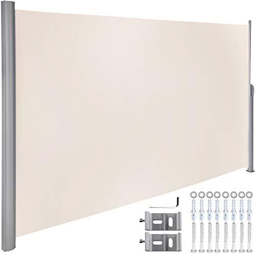 VEVOR Terrassen Windschutz Rollo 160 x 300 cm Cremeweiß Seitenmarkise ausziehbar für den privaten oder gewerblichen Gebrauch