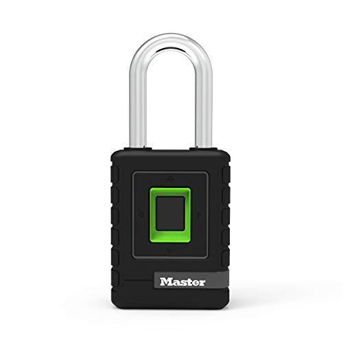MASTER LOCK Cadenas Biométrique Haute Securité [Etanche] [Empreinte Digitale et Code Directionnel de Secours] [Anse Longue] 4901EURDLHCC - Idéal pour...