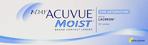 Acuvue 1-Day Moist For Astigmatism Tageslinsen weich, 30 Stück / BC 8.5 mm / DIA 14.5 mm / CYL -0.75 / ACHSE 30 / -0.5 Dioptrien