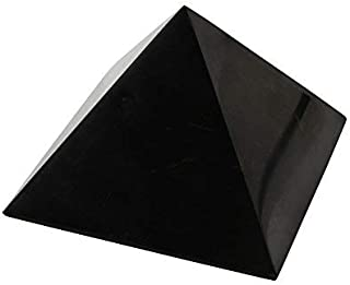 Heka Naturals Polished Shungite Pyramid 4 Inches, Contains Fullerenes for EMF Protection   Authentic Anti-Radiation Shungite Stone Figures from Karelia, Russia   4 Inch Pyramid, Polished