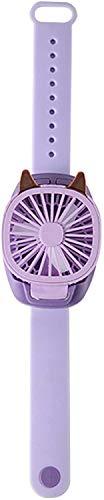 Mini ventilador de reloj, ventilador de reloj portátil con correa de muñeca cómoda, luz LED colorida, ultra silencioso, ventilador recargable USB plegable para mujeres y niños