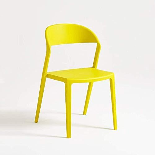 QZMX Stuhl Mode Nordic Stil Rückenlehne Stuhl, moderner Plastikstuhl kreativen Freizeitrücken Dining Chair Bürostuhl (Color : Yellow)
