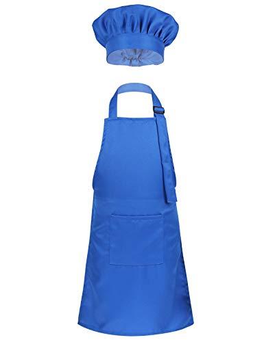 YOOJIA Déguisement Cuisinier Enfant Unisexe Costume de Chef Cuisine Costume Cosplay Tablier Pâtissier & Toque Bonnet de Chef Fête Cadeau d anniversaire pour Garçon Fille Bleu S