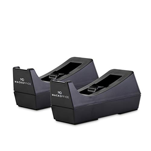 MackOffice Desktop Tape Dispenser (Black, 2 Pack) Weighted and Non-Skid Rubber Base to Keep Dispenser in Place. one-Hand Dispensing for 1/2 or 3/4 Inch Tape Roll up to 1500 in Long Office School