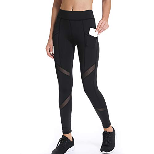 Joyshaper Netz-Leggings mit Taschen, für Damen, Schwarz, Capris, Laufen, Fitnessstudio, Yoga, Workout, Leggings Gr. XXL, Schwarz