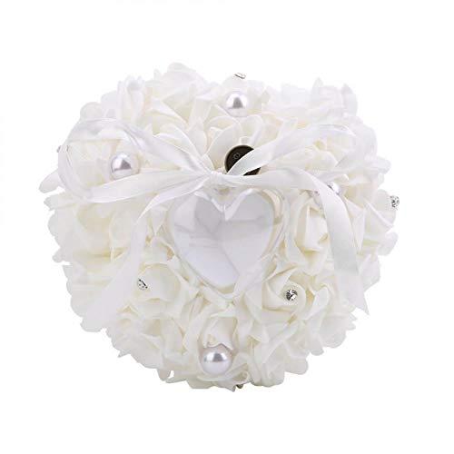 Emoshayoga Regalo Cojín Burbuja Anillo romántico Caja Almohada Joyería Almohada Cosida a Mano para Pendiente(White)