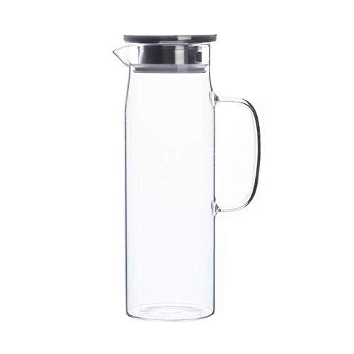 Fyftwh Tetera Botella de Agua de Vidrio frío Tetera de Frasco con Tapa Transparente Gran Capacidad de Agua Resistente al Calor con Mango de Tetera lanzadoras (Color : 1.5L C)