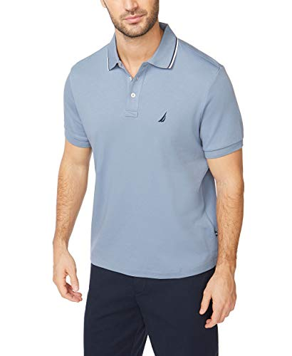 Nautica Men's Classic Fit Short Sleeve Dual Tipped Collar Polo Shirt, Lake City Blue, Large