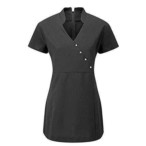 V4B Damen Tunika für Wellness-Salon, Uniform, Schönheitstherapeutin, Arbeitskleidung Gr. 38, Schwarz