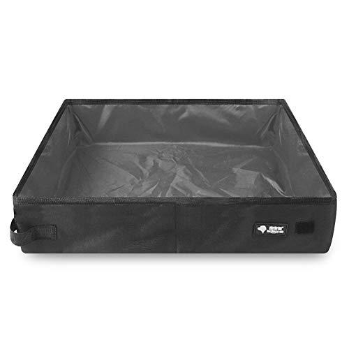 AKDSteel - Lettiera portatile impermeabile pieghevole in tessuto Oxford per gatti, da viaggio, per animali domestici, misura grande, 50 x 40 x 11 cm, colore: nero