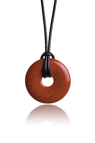Raw & Noble Edelstein Anhänger aus echtem Goldfluss | Kristall Kette mit Donut Anhänger inkl. edlem Kordband | Premium Heilstein/Glücksstein aus hochwertigen Mineralien