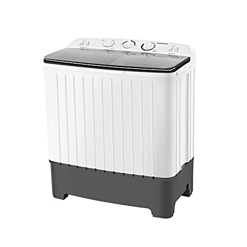 BANGSON Portable Washing Machine, 17.6 lbs Washer(11lbs) and Spinner(6.6lbs), Mini Compact Twin Tub Washing Machine, Washer and Dryer Combo, Compact Laundry Machines, Timer Control with Soaking Function(20mins), For Dorms, Apartments, RVs (White & Black)