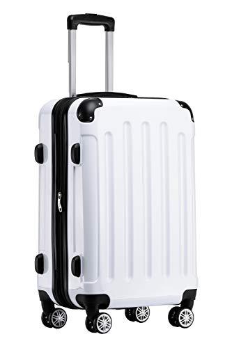 BEIBYE Hartschalen Koffer Trolley Rollkoffer Reisekoffer 4 Zwillingsrollen Polycabonat (Weiß, Handgepäck 55cm-40L)