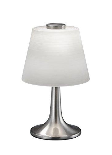 Trio Leuchten LED-Tischleuchte Nickel matt, Glas weiß gewischt 529310107