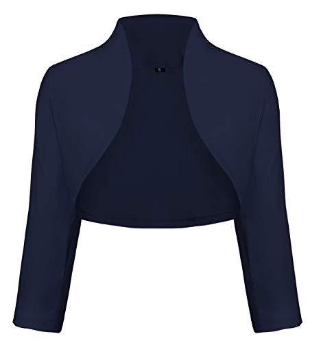 TrendiMax Damen Eleganter Bolero Jacke Schulterjacke Kurzes Jäckchen 3/4 Ärmel,Dunkelblau,S