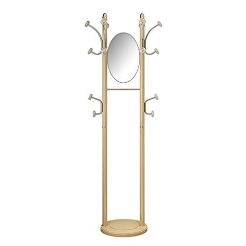 HHGO Metallo Appendiabiti Da Terra Con Specchio Design, Oro, Moderno Multifunzionale Attaccapanni Grucce E Gancio, Specchio Mobile, Per Camera Ingresso Camera Da Letto Porta