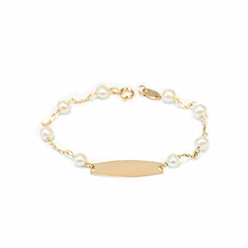 Monde Petit G1226PU - Pulsera Bebe Oro 18 Kts. chapa lisa con perlas