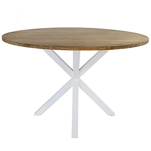 Mesa de Comedor Pata Estrella Redonda 120x75cm Blanca Madera Acabado Natural Estilo nórdico Industrial Box Furniture