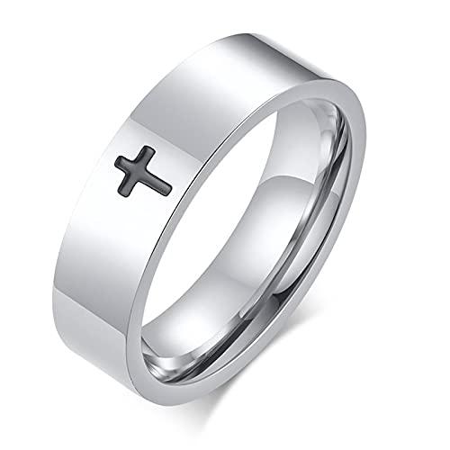 ZIYUYANGAnillos de boda con cruz de acero inoxidable Joyas para hombres y mujeres Regalos de compromiso 13