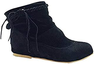 Women's Girls Autumn Winter Warm Fringed Boots Fashion Flat Half Boots Comfortable Ankle Boots