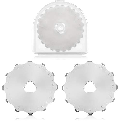 2 Pieces 45 mm Perforating Rotary Replacement Blades 45 mm Rotary Cutter Blades with Plastic Box for Crochet Edge Cutting Crafting Sewing Leather Paper Cardstock