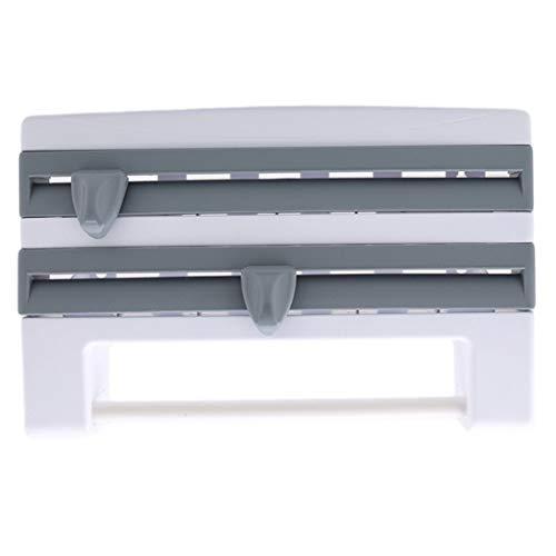 XQWR Multifunktionales Frischhaltefolien-Aufbewahrungsregal Wandmontage-Frischhaltefolie Kunststofffolie und Folienspender (grau-blau)