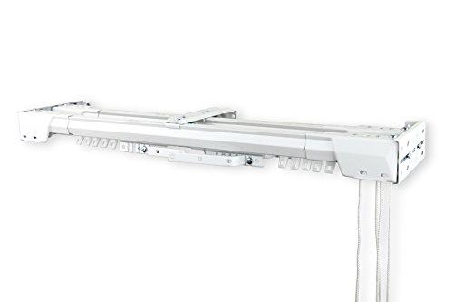 Heavy Duty Double Traverse Rod - Center Open 30-48 inch - White