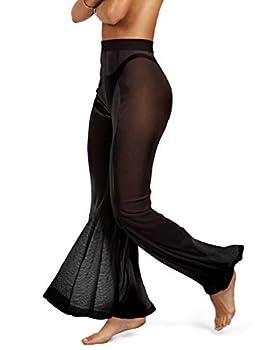 sofsy Black Mesh Swimsuit Cover Up Pants for Women - Sheer Sexy Swimwear Cover Ups Pant w/Beach Bag Swim Bikini Bathing Suit   Trajes de Baño para Mujer Medium