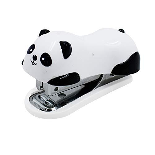 LiXiongBao Portable Mini Cute Panda Desktop Stapler Handy Stapler Set with 1000 Pieces Staples No.10 Staples for Office School Home Use