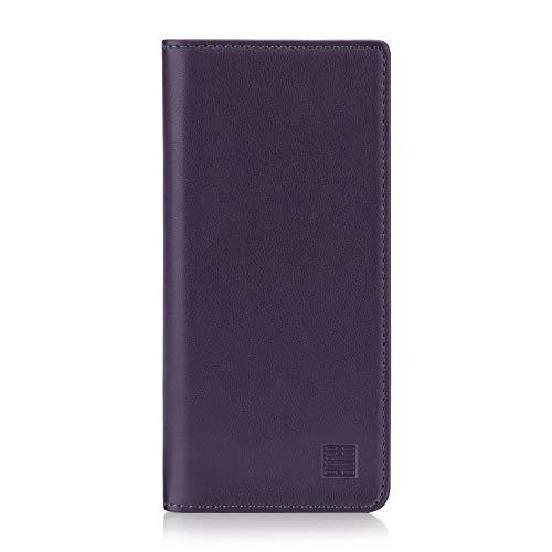 32nd Klassische Series - Lederhülle Hülle Cover für BlackBerry Key2 LE, Echtleder Hülle Entwurf gemacht Mit Kartensteckplatz, Magnetisch & Standfuß - Aubergine