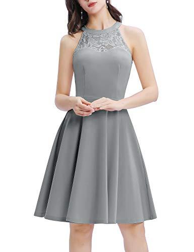 Bbonlinedress Damen Cocktailkleid Elegant Kleid Abendkleider Rockabilly Kleid Retro Vintage Neckholder Hochzeitskleider Grey S