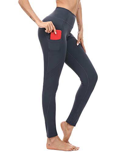 Akalnny Leggins Deportivo Mujer con Cintura Alta Yoga Pant Elástica Pantalones Deporte con Bolsillos Correr Fitness Mallas Push Up