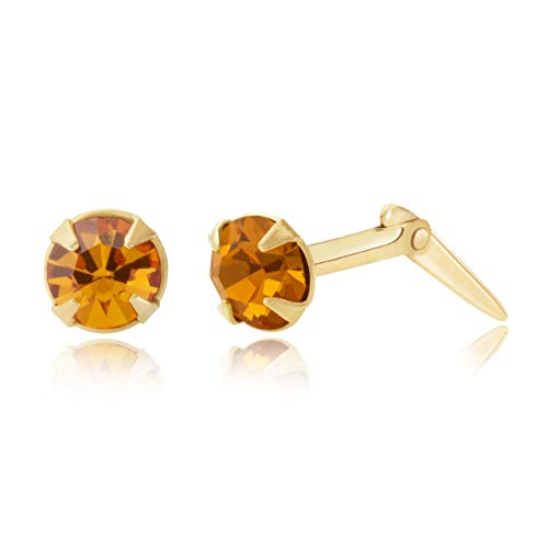 9ct yellow gold 3.5mm round Topaz crystal Andralok stud earrings/Gift box
