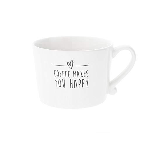 Bastion Collections Becher, Tasse Coffee Makes You Happy weiß schwarz 300ml