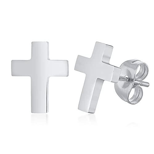 Pendientes de cruz perforados de aro de acero inoxidable en 3 estilos Pendientes colgantes de cruz de perno prisionero colgantes redondos negros de plata y oro para hombres