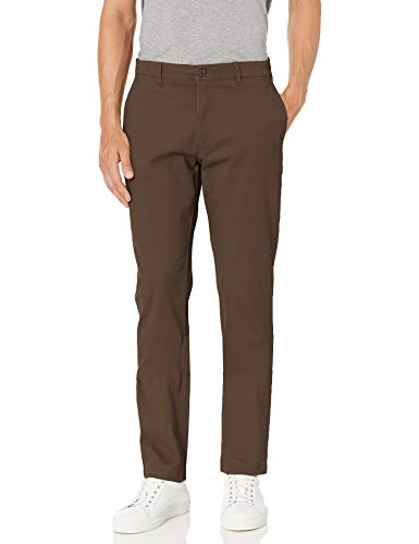 Amazon Brand -Goodthreads Men's Slim-Fit Washed Stretch Chino Pant, Brown 35W x 29L