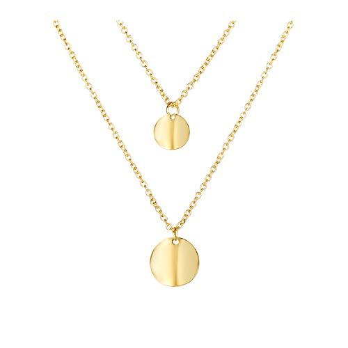 Long tiantian Gold Layered Choker Pendant Necklace Coin 2 Layering Simple Disc Round Sequin Women Necklace Bridal Jewelry