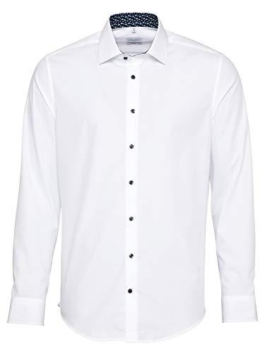Seidensticker Herren Slim Langarm Poplin Hemd, Weiß (Weiß 01), (Herstellergröße: 36)