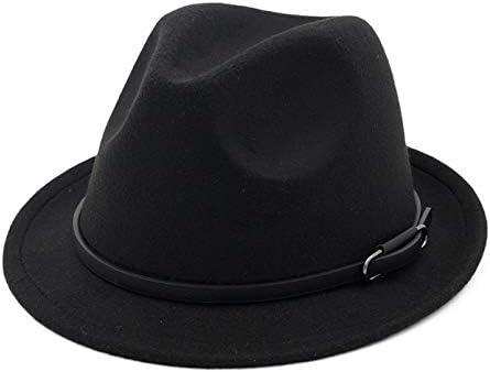 LHZUS Hats Men Women Curling Hat Fedora Hat Belt Buckle Hat Fedora Har Jazz Formal Party Hat Cotton Ladies Winter Hat (Color : Black, Size : 56-58)